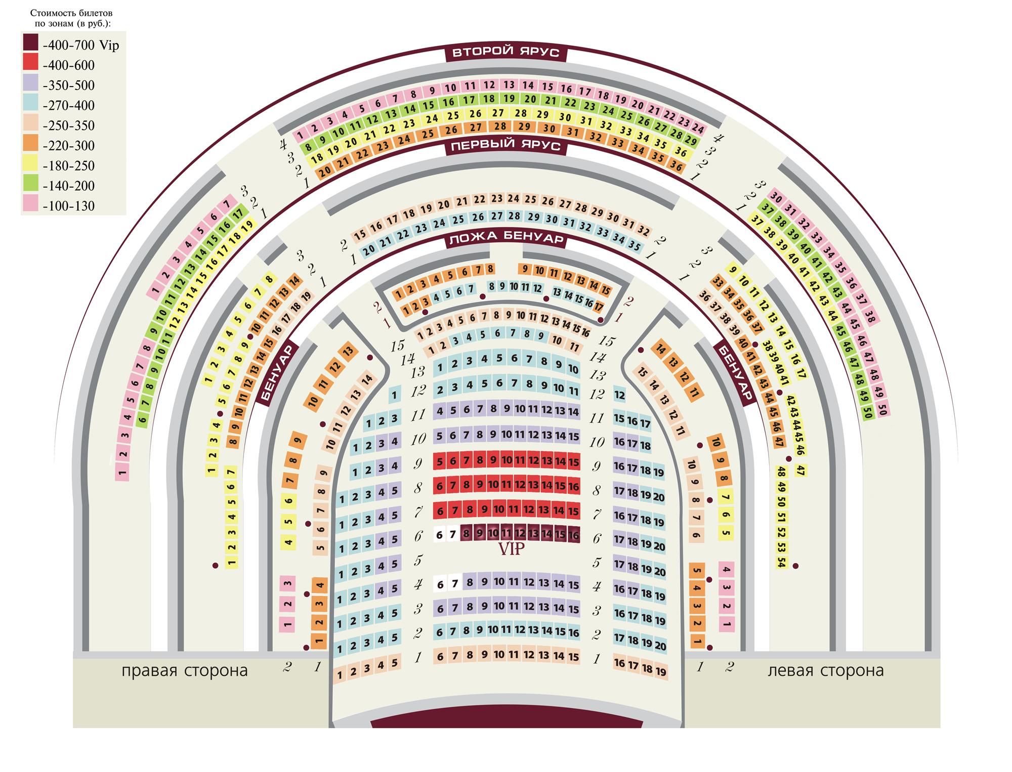 Схема зрительного зала театра оперы и балета